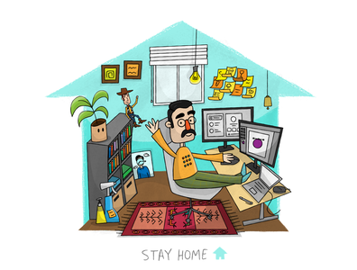 I Stay at Home! workspace disney house cartoon character illustration safe covid19 coronavirus stayhome home artist