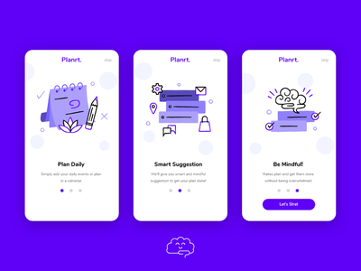 Planrt. | Onboarding Screens userinterface app onboarding mindful purple onboarding screen ui onboard onboarding ui logo branding design illustration