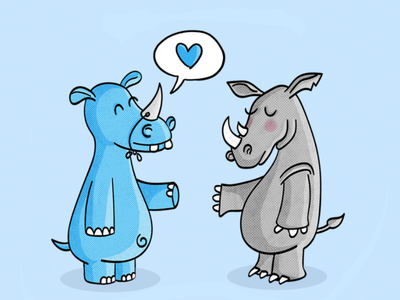 Hippo meets Rhino digitalart funny cute hippo rhino animal