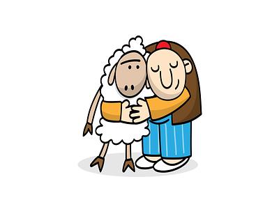 Haji Stickers: Hug character design old man sticker vector sheep digitalart design animal persian funny illustration character cartoon
