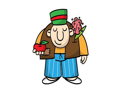 Haji Stickers: Nowruz flower apple nowruz digitalart vector sticker design persian cartoon character funny illustration