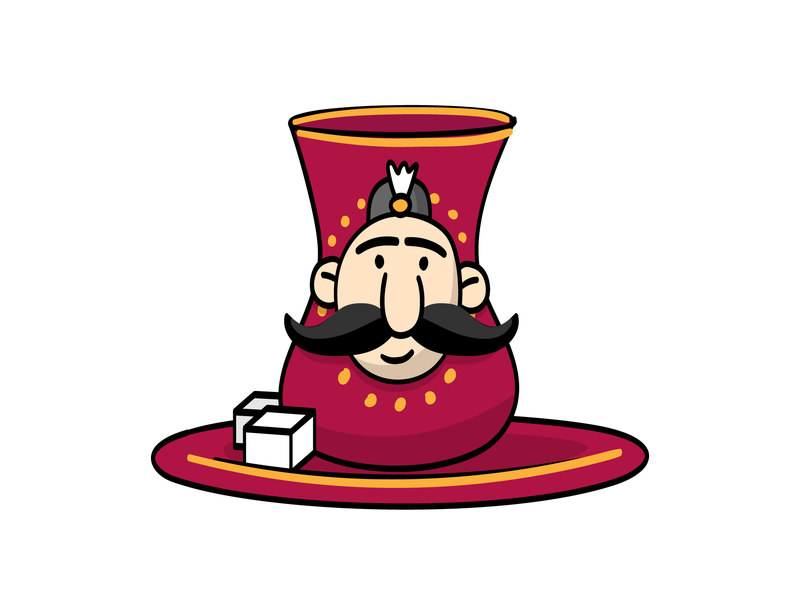 Haji Stickers: Tea man mustache tea vector sticker design persian cartoon character funny illustration