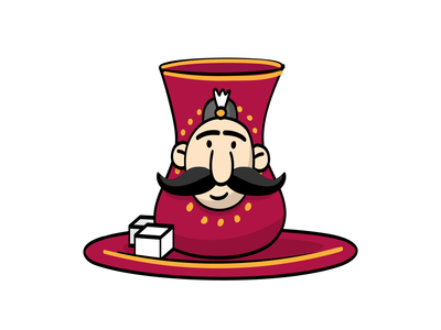 Haji Stickers: Tea man mustache tea vector sticker design persian cartoon character funny illustration