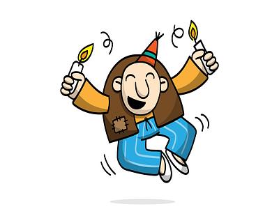 Haji Stickers: Birthday tada candle birthday sticker digitalart persian cartoon character funny illustration