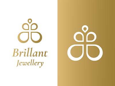Brillant Jewellery - Logo bright branding jewlery fashion design flower gold logodesign logo