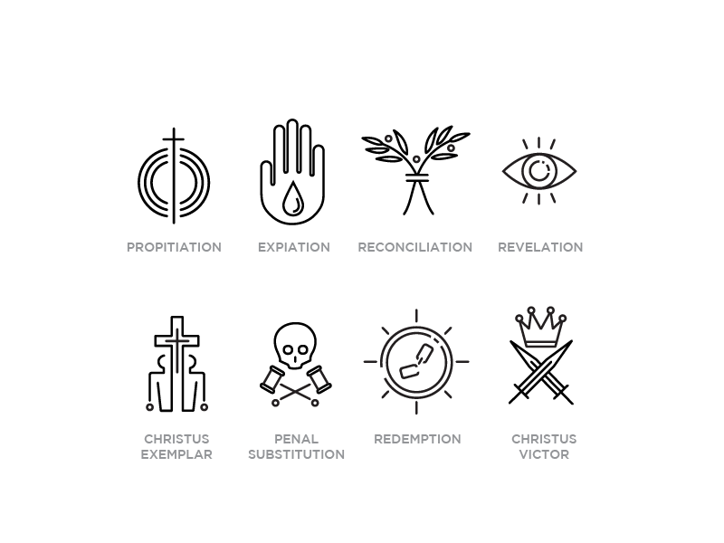 Implications of the Cross ICONS icons line redemptionsf propitiation expiation reconciliation revelation christus exemplar penal substitution redemption christus victor