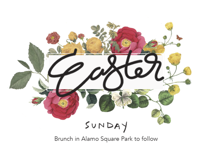 Easter Graphic for Redemption Church easter flowers calligraphy
