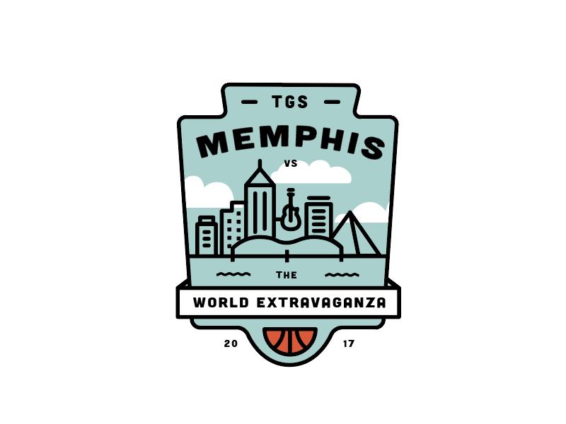 Option 2 for Basketball Tournament logo badge vintage line skyline memphis tournament basketball