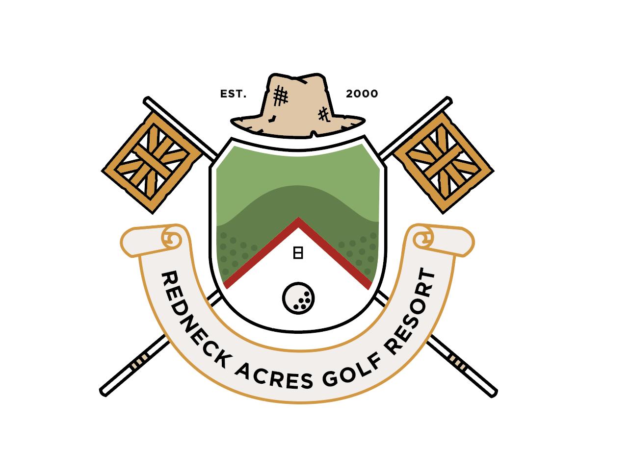 Redneck Acres illustration banner hat logo golf ball golf line flag crest