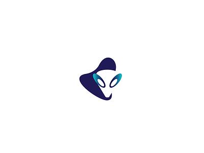 Alien gradient logo flat logo logo design concept alien logomark logo