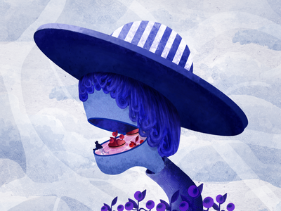 Journey 02 blue flowers hat digital painting digital art concept art character design colorful illustration modern