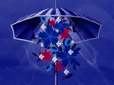 Journey 03 eye water underwater umbrella blue digital painting concept art illustration modern