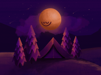 Silence sleep tent moon tree concept silence night digital painting colorful modern illustration