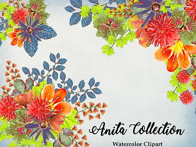 Anita Collecton design watercolor illustration watercolor flower watercolor flowers watercolor florals printables wedding design watercolor illustration instant download png