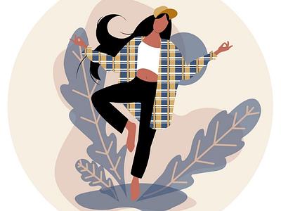 Girl in motion flat illustrarion