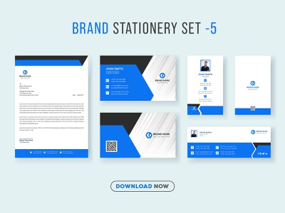Corporate Brand Identity Set and Stationery Pack V.5 promotional social web banner facebook cover id card business card letterhead company business corporate print ready print template stationery branding brand