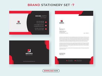 Corporate Brand Stationery Set V.7 print creative template letterhead business card new modern minimalist business corporate identity branding social design ads stationery