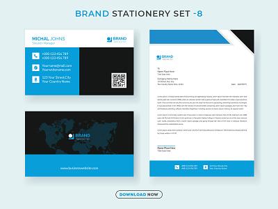 Corporate Brand Stationery Set V.8 template brandingidentity letterhead business card print new modern creative minimalist identity branding banner web banner ads stationery design social