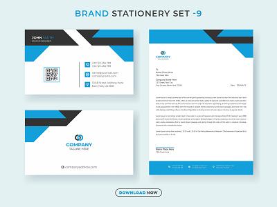 Business Brand Stationery Set V.9 brandingidentity letterhead business card new minimalist identity social ads web banner banner branding design stationery