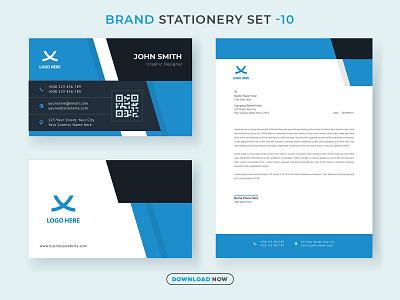 Business Brand Stationery Set V.10 business corporate new modern creative minimalist identity brandingidentity graphicdesign letterhead business card design branding stationery