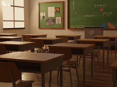 3D Japanese Classroom 3d artist interior lightroom design room interior design interiordesign anime 3d art