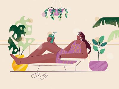 Holiday at Home Illustration colour exploration flat design outside green leaf plant women illustration