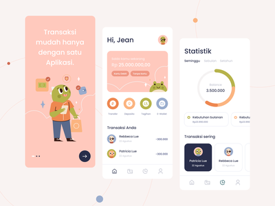 Online Mobile Banking App Exploration bankapp finance colour pastel application design exploration illustration ui