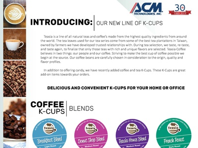 ACM Coffee Kcup and Teakcup Brochure marketing design flyer coffee flyer promotional design