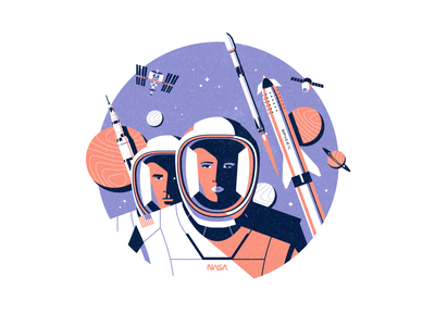 NASA international space station iss starship spaceship space spacex nasa minimal animation ronen cohen flat vector character illustration