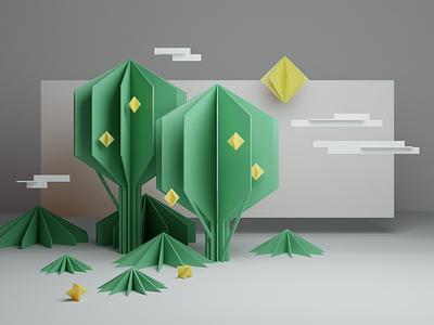 Green & Lemons origami lemon tree graphic design design render 3d