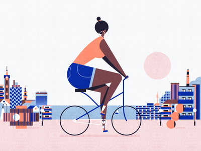 Tel Aviv ronen cohen black bycicle bike city guide city beach art tel aviv minimal animation vector flat design character illustration