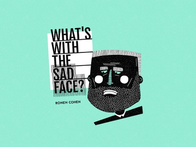 what's with the sad face? ronen cohen typography design character illustration mental health book sad