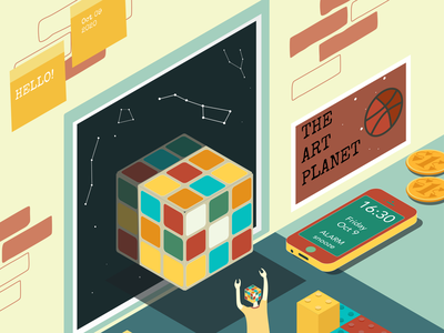 Hello Dribbble! debut illustration isometric weird vector art vector space dribbble