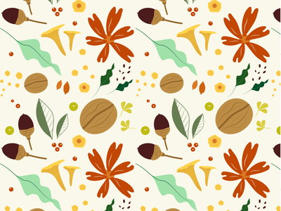Forest Gifts flat illustration pattern autumn leaves leaves muchroom forest fall autumn