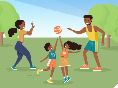 Family activity children childrens illustration people illustration nature playing ball activity smile happy afro family portrait family design vectorart graphic design vector illustration vector illustrator illustration art