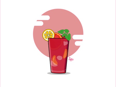 Ice tea on a hot summer day illustration art clean illustration red drink mint lemon glass refreshing summertime cold drinks vectorart art illustration illustrator vector tea ice tea