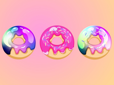 Set of donuts donuts donut gradient graphic background graphic design graphicdesign design illustration vector