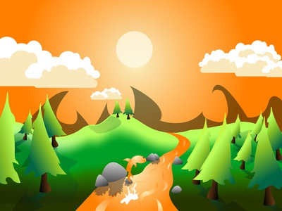 landscape in cartoon style sunset goldfish landscape graphic background graphic design graphicdesign design illustration vector