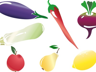 Set of vegetables eggplant chili pear apple lime lemon food vegetable vegetables gradient abstract graphic background graphic design graphicdesign design illustration vector