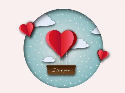 Greeting card v day circle cloud heart romance romantic papercut valentinesday love abstract graphic background graphicdesign design graphic design illustration vector