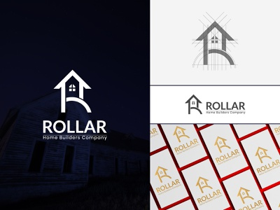 ROLLAR, R+HOME LOGO DESIGN photoshop illustrator flat logos flat design brand design logo folio 2021 artwork illustraion brand identity monogram logo logo icon logo inspirations vector mark branding minimal creative