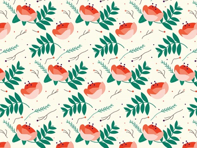 Flowers flowered pattern greens salmon herbs patterns illustration