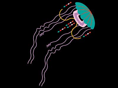 jellyfish under the sea jellyfish light bright deep sea water illustration colors