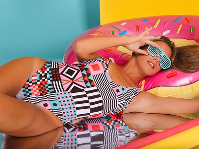 Rainbow Sprinkles donut swimsuit summer pattern textiles sprinkles rainbow