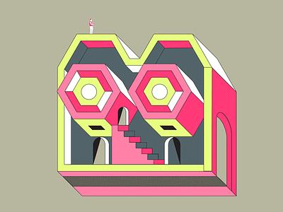 Oculus Rift Machine lime pink line 3d internet color illustration