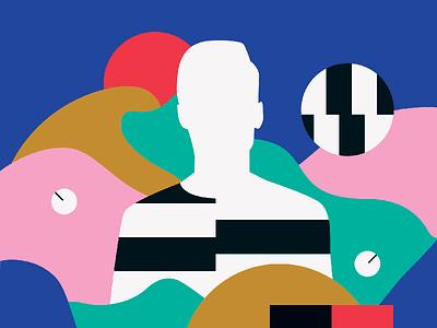 Magazine Illustration music piano portrait pixel synthesizer circles stripes color video beats bits sound