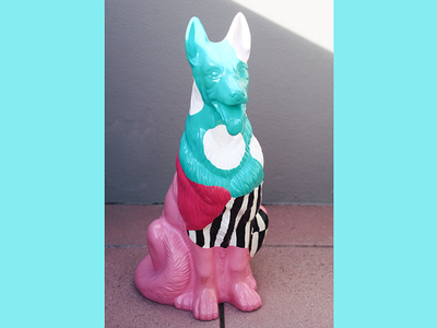 Who let the dogs out? ceramics ceramic dog painting colors circles stripes spray can dog