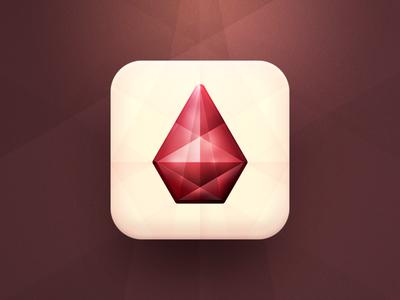 Gemstone @2x icon ios iphone ipad apple concept simple idea vector gem gemstone app ruby sparkle transparent reflection shape angle angles red light dark shine
