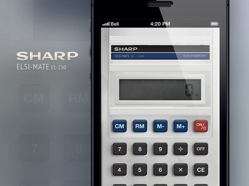 Sharp Calculator @2x ios iphone iphone5 calculator app sharp product concept idea button lcd readout display plastic dirty realistic real