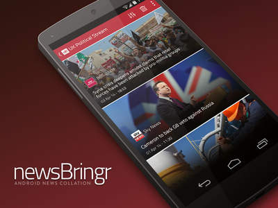 newsBringr - Android News App @2x android kitkat news app design current affairs flat red